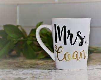 Personalized Mrs. Coffee Cup Custom Mrs. Last Name Mug Bridal Shower Coffee Mug Wedding Gift  Bridal Shower Engagement Gift Day of Wedding