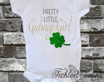 Pretty Little Galway Girl Four 4 Leaf Clover Shamrock Glitter Baby Bodysuit, Toddler, Youth Shirt  - Lucky Charm - Irish - Ireland - Kiss Me