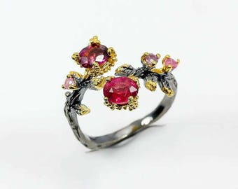 Ruby Ring July Birthstone rings for her, Custom promise ring, gifts for women, pink red jewelry for wife, twig branch ring, botanical ring