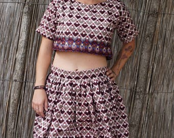 African Print Handmade Crop Top/Skirt