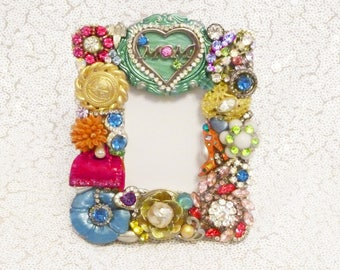 Perfect Gift for Mom, Dazzling Jeweled Picture Frame, Swarovski, Unique, Sparkly, Vintage Jewelry, Whimsical, Mom Heart