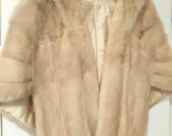 Vintage Midcentury Bamberger's Blond Mink Fur Stole / Cape / Wrap