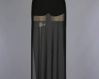 High Waist Sheer Mesh Side Slit Maxi Skirt/Custom Women Sheer Mesh Maxi Skirt ( + Colors )