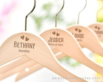 Wedding Hangers, Personalized Hangers for Bridesmaids, Bridal Name Hanger, Bridal Party Hangers, Bridesmaid Gift, Engraved Hanger H18