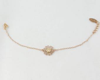 Rose Gold Wedding Bracelet, Bride Dainty Bracelet, Rose Gold Bridal Bracelet, Rose Gold Bridesmaid Bracelet, Bride Flower Bracelet, Gift