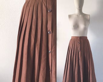 vintage 1980s skirt • chocolate brown • pleated • FREE SHIPPING