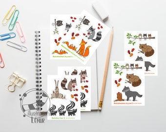 Small stickers reusable animals of the boreal forest, raccoon, Wolf, owl, miniature wall art, gifts, party, birthday, baby shower
