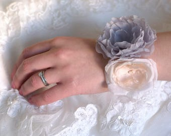 Corsage | Wrist corsage | Wedding corsage | Flower bracelet | Bridal corsage | Prom corsage | Blue and blush wrist corsage UK