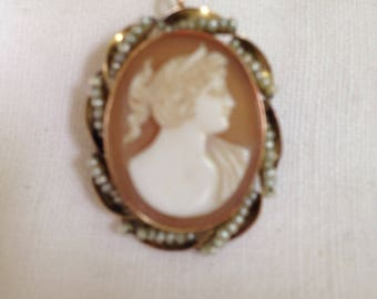 10kt Gold Cameo and Seed Pearl Pendant or Brooch