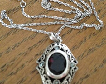 """Amethyst and Marcasite Sterling Silver Pendant and 18"""" Chain"""
