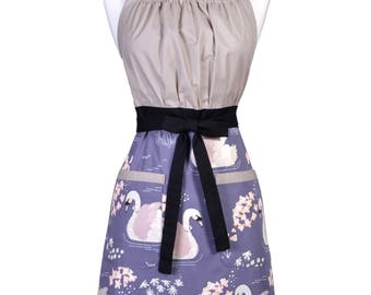 Womens Retro Kitchen Apron Organic Ollie the Swan Retro Vintage Kitsch Style Inspired Cooking Hostess Apron with Pockets (CS)