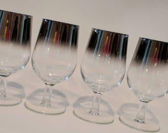 "Vintage Platinum Fade Ombre Wine Glasses Goblets Madmen Thorpe Style Barware 1960s Retro Wine Glasses 6.5"" (4)"