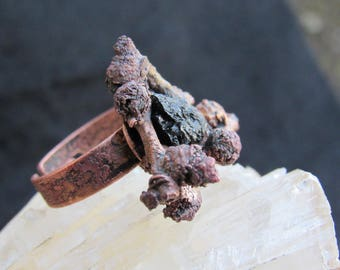 Witchcraft copper ring with branches and black tourmaline adjustable
