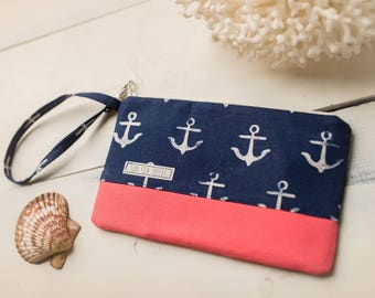 Small Katrina Pouch, Navy Anchors and Coral