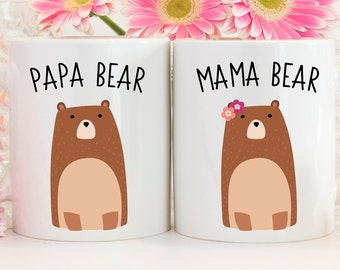 Mama and Papa Bear Mug Set - Dad Mug - Mom Mug - New Parents Gift - New Mom Gift - Pregnancy Reveal Mug - Mom and Dad Mugs