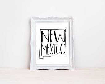 "New Mexico State Print || 8""x10"" New Mexico Wall Art Sign 