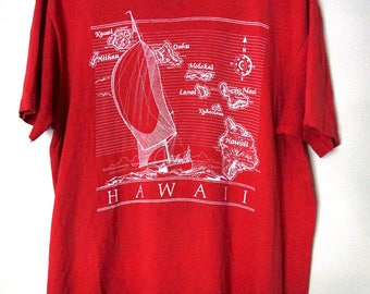 Vintage 90s Geographic Hawaii Map T Shirt // Red 90s Graphic Sailboat T shirt// Size Large