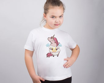 Pink Unicorn Kids T-shirt Child Shirt Boys Girls Funny Tee Child Youth Apparel Custom Shirt Printed T-shirt Cute Graphic Design PA1076