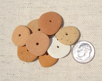 8 ceramic handcraft beads with center hole-jewelry supplies-drilled sea pottery-craft supplies