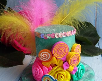 Mini Top Hat Candy Mini Top Hat Headband Mad Hatter Hat Alice in Wonderland Top Hat Fascinator Tea Party Hat Mint Pink Yellow Mini Top Hat