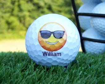 Emoji Smiley Face with Shades Personalized Custom Golf Ball For Weddings / Birthday / Special Occasion / Gift Set of 3, FAST SHIPPING!!