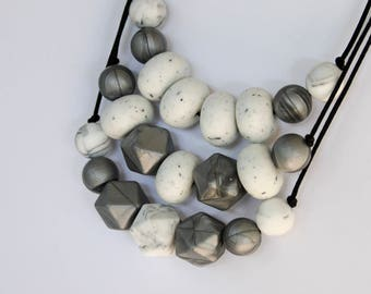 Silicone Necklace (stone/silver on black)