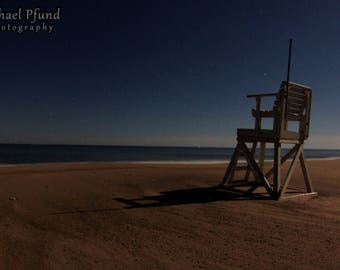 Lone Lifeguard Chair at Night - Cape Cod Beach - Landscape Photography - Fine Art Print - Limited Edition