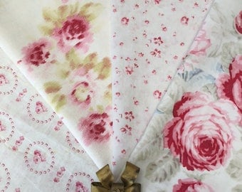 Exquisite Fab French FABRICS English ROSES and Petite Pink Flowers on White Ground with their Gilt Brass RIBBONBOW for Projects