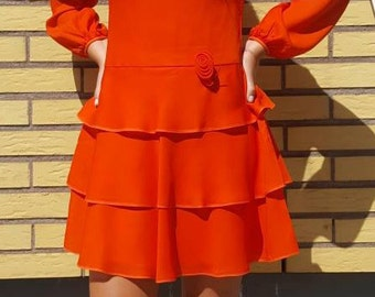 Dress Swedish vintage 70s Labeled Ewo modell Haute Couture Size 38