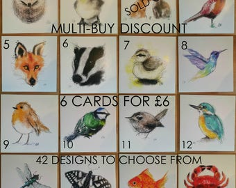 6 animal cards // multi-pack cards // multi-buy discount // greeting card set // animal cards // blank greeting cards // animal lover cards