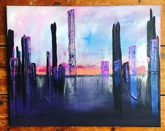 "ORIGINAL abstract cityscape painting on canvas by Amy Struthers, 16"" x 20"""
