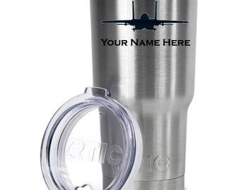 F-15 Customized Laser Etched Stainless Steel Tumbler-RTIC - Personalized Gift