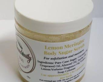 Lemon Meringue Sugar Scrub 8oz | Natural Body Scrub | Vegan Exfoliating | Hydrating Shower Scrub | Body Polish