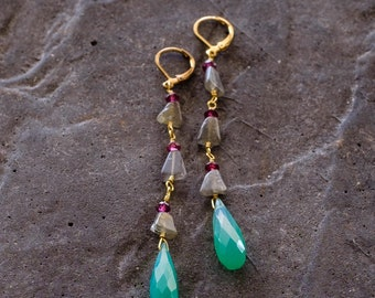 Chalcedony, Ruby and Labradorite Dangle Earrings