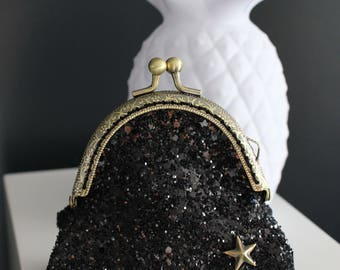 Retro purse black glitter