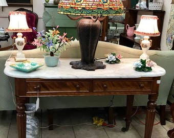 Vintage Marble Top Cherry 2 Drawer Sofa Table