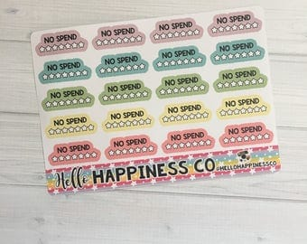 No Spend Tracking Stickers - Checklist Stickers - Planner Stickers - Functional Stickers