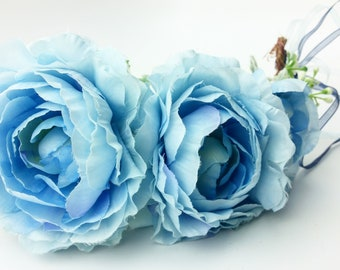 Large Blue Flower Crown with Dusty Miller Accents