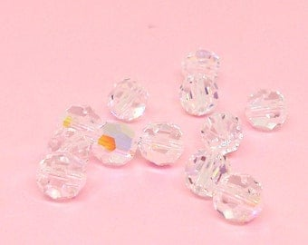 6mm Faceted Round Bead, Crystal AB, Swarovski Crystal Bead, Loose Beads, Jewelry Supplies, Sparkly Beads, Crystal Clear, Diy Jewerly, YC6251