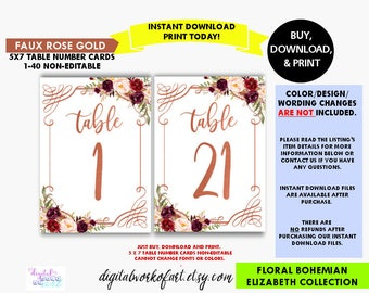 Wedding Table Numbers,Rose Gold, Printable Table Numbers 1-40, Boho Chic Wedding Decor, Floral Table Numbers, 5x7, Banquet Table Numbers, LC