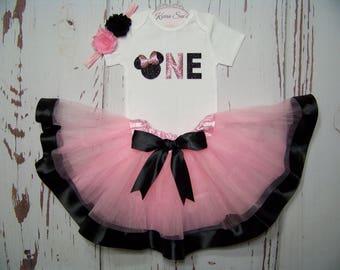 Minnie Mouse Birthday Outfit / Pink & Black / Onesie + Tutu / Headband / Glitter / Disney / First / Cake Smash/ Photo/ Baby / Girl / Toddler