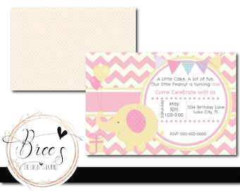 Personalized Pink Elephant Birthday Invitation- Card -  Custom Graphic Design - Stationery - Pink Chevron - Girls Invite - Girls Invitation