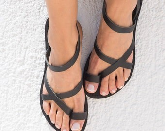 Greek Leather Sandals,Women sandals,Black sandals,Strap sandals,Handmade sandals,Womens shoes,Triskelion,KLEIO,
