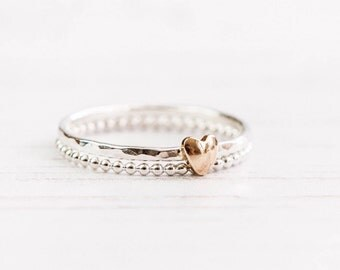 dainty ring, delicate rings, heart ring, sterling silver stacking rings, everyday jewelry, gift for her, birthday gift, UK sellers