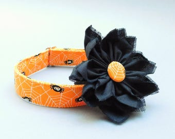 Spider web dog collar with flower for Halloween glow in the dark All saints day cat accessory XS to XL All Hallows Eve pet clothes puppy