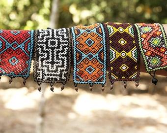 Handmade Shipibo Native Peruvian Beaded Ayahuasca Colorful Psychedelic Huichol Tribal Sacred Geometry Jungle Medicine Jewelry Bracelet