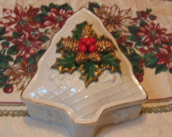 Vintage Christmas Trinket Box or Could be used for Candy  Dish or Nut Dish Shaped like A tree with Pine cones Holly Leaves on top Porcelain