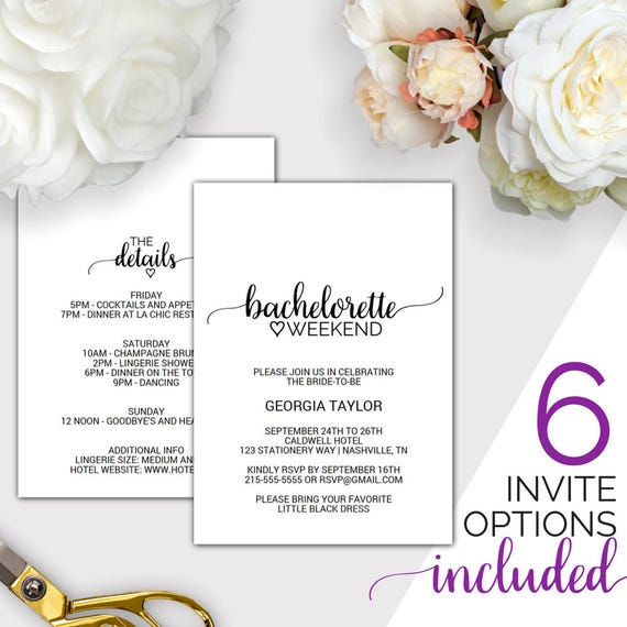 Bachelorette Weekend Invitation W Itinerary Template