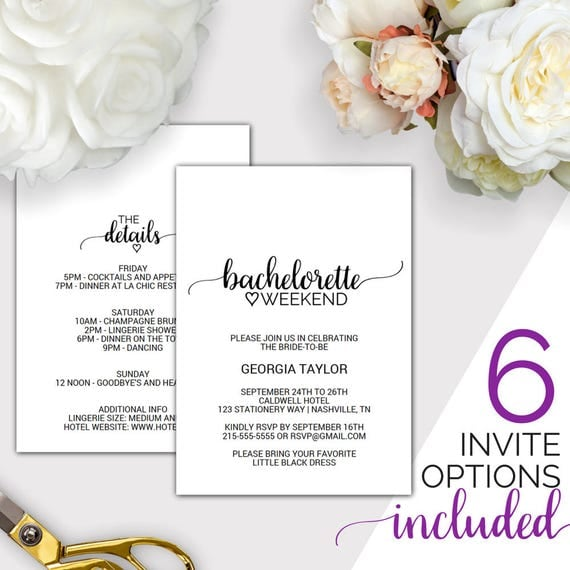 Bachelorette Weekend Invitation W/ Itinerary Template: