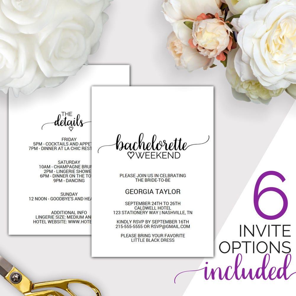 Bachelorette Weekend Invitation w/ Itinerary Template: